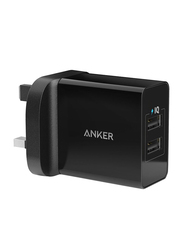 Anker Wall Charger Certified Safe, 2.4A with 2-Port IQ Technology, Black