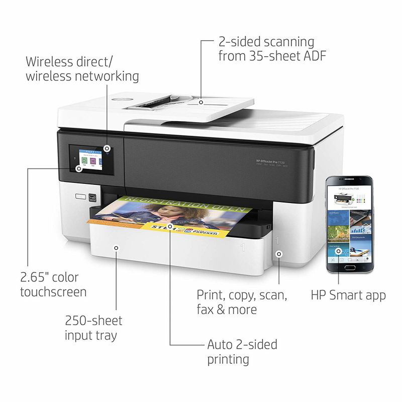 HP OfficeJet Pro 7720 Y0S18A All In One Wide Format Printer, White/Black