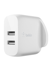 Belkin Boost Dual USB-A Wall Charger, USB-A To 24W+ Lightning Charge Cable, White