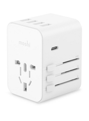 Moshi World Travel Charger Adapter, with USB Type-C and USB Type A Ports, MSHI-L-022156, White