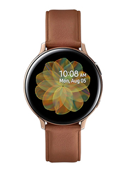 Samsung Galaxy Active 2 - 44mm Smartwatch, GPS, Gold Stainless Steel Case with Brown Fluorcelastomer Band