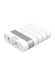 X.cell 10000mAh Fast Charging Dual USB Slots Power Bank, XL-PC-10100-WHI, White