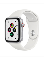 Apple Watch SE 44mm Smartwatch, GPS, Silver Aluminum Case with White Sport Band