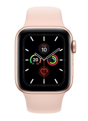 Apple Watch Series 5 - 44mm Smartwatch, GPS, Gold Aluminum Case with Pink Sand Sport Band