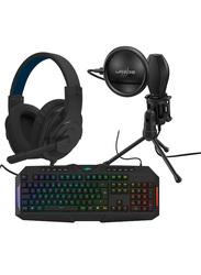 Hama Urage SoundZ 100 Gaming Headset with Stream 400 Plus and Exodus 700 Semi-Mechanical Bundle, Black
