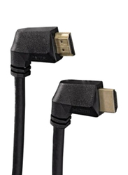 Hama 90 Degree Gold Plated 2.0A HDMI Cable, High Speed HDMI Male to Ethernet HDMI for All HDMI Devices, HAM-122222, Black