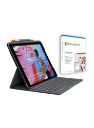 Logitech Apple iPad (7th Generation) Rugged Folio Keyboard Case Cover with Microsoft 365 Personal, Black