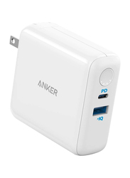 Anker PowerCore Fusion III 2-in-1 USB-C Portable Wall Charger, 5K PD, 18W, White