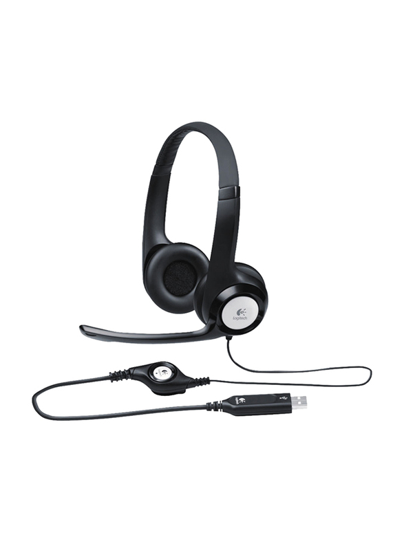 Logitech H390 USB On-Ear Noise Cancelling Headset, with Mic, Black