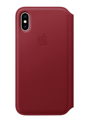 Apple Leather Folio for Apple iPhone XS Mobile Phone, Red