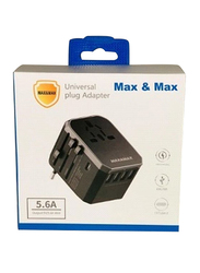 Max & Max 5.6A Wall Charger, Universal Plug USB Adapter, Black
