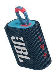 JBL Go 3 IP67 Waterproof Portable Bluetooth Speaker, Blue/Pink