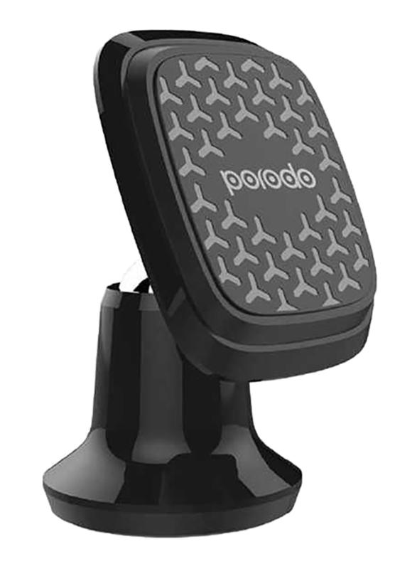 Porodo Magnetic Silicone Aluminum Alloy Dash Mount for Smartphone, Black