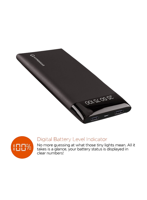 Hypergear 16000mAh HG-14044 Fast Charging Universal Power Bank with Micro-USB Input, with Digital Display, Black