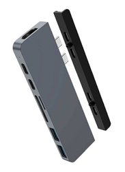 Hyper 7-in-2 USB Type-C Hub for Apple MacBook, Grey/Black