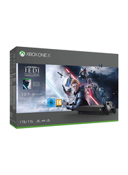 Microsoft Xbox One X Console, 1TB with 1 Controller and 1 Games (Jedi Fallen Order Bundle) and 1 Month EA Membership, Black