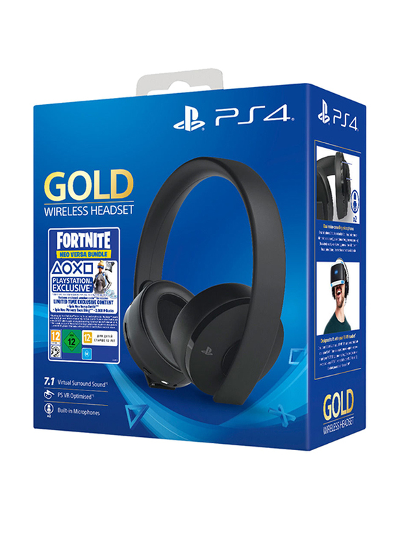 Sony PlayStation Gold Wireless On-Ear Noise Cancelling Stereo Gaming Headset, with Fortnite Voucher, Black