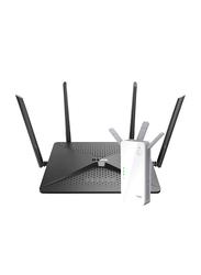 D-Link DL-BUNDLE0026 DL-DIR-882 Mu-mimo Wi-Fi Gigabit Router AC2600 with DAP1720 AC1750 Dual Band Wi-Fi Range Extender, Black/White