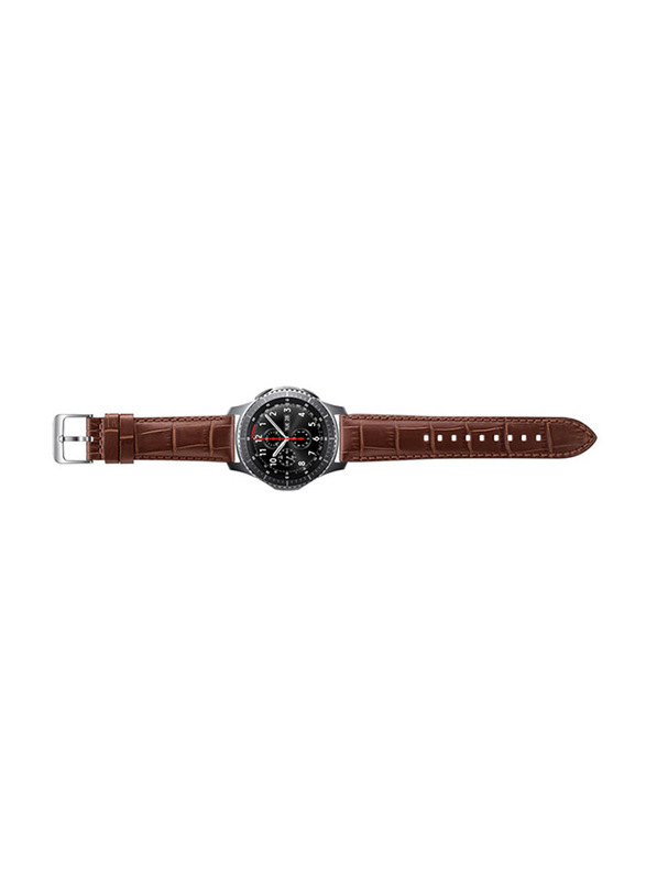 Samsung Alligator Grain Leather Band for Samsung Gear S3 Classic/Gear S3 Frontier Watch 22mm, Brown