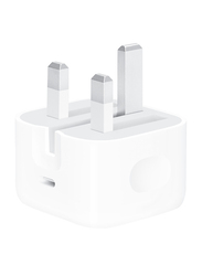 Apple 20W Fast Charging UK Wall Charger, Plug Power Delivery and USB Type-C, White