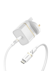 Otterbox Fast Charge Wall Charging, Lightning Power Delivery to USB-C Kit Standard Adapter, White
