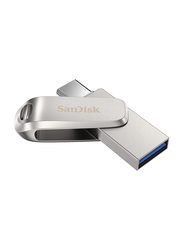 SanDisk 128GB Ultra Dual Drive Luxe USB Flash Drive, Silver