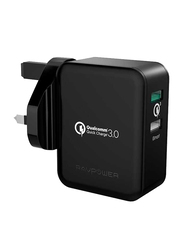 RAVPower QC3.0 Wall Charger, with 30W Dual Port UK, Black