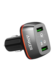 Anker Power Drive+ Car Charger, with Dual USB, Grey