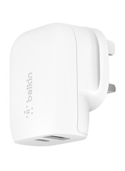 Belkin Boost Charge UK Wall Charger, 30W, USB Type-C & USB Type-A, White