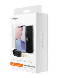 Spigen Apple iPhone 12 Mini Mobile Phone Case Cover with Tempered Glass and 27W Wall Charger Bundle, Black/Clear