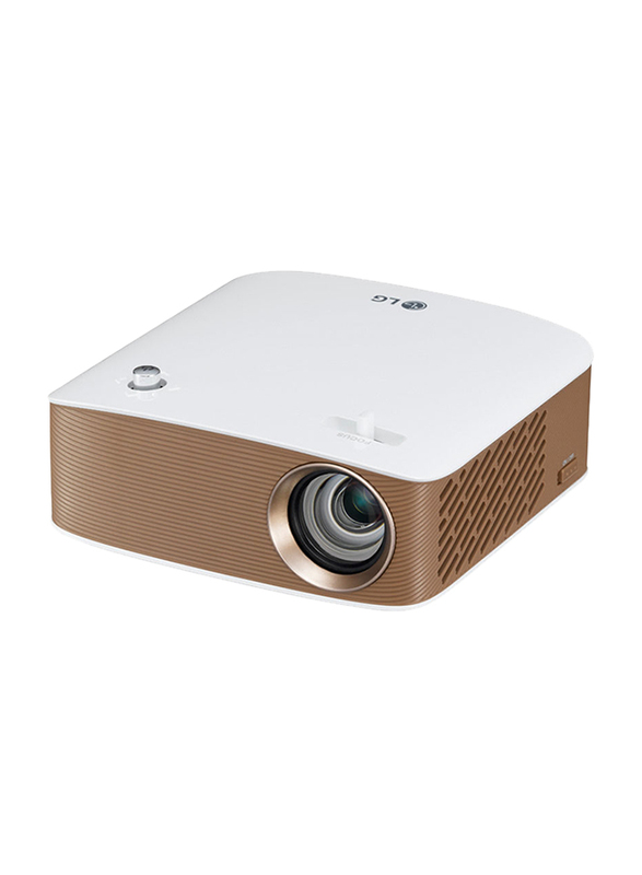 LG PH150G Cinebeam HD LED Wireless Projector, 130 Lumens, Built-in Speaker, White/Copper