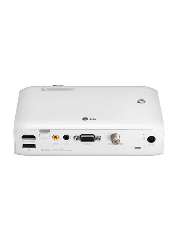 LG PH550 Minibeam 720p HD LED Wireless Portable Projector, 550 Lumens, Built-in Speaker, White