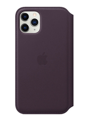 Apple Leather Folio for Apple iPhone 11 Pro Mobile Phone, Aubergine