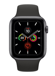 Apple Watch Series 5 - 44mm Smartwatch, GPS, Space Gray Aluminum Case with Black Sport Band