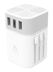 Adam Elements Omnia T3 Travel Adapter, Sliver/White