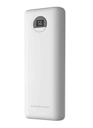 Powerology 20000mAh Quick Charge Compact Power Bank with USB Type-C Input, with 30W PD, White
