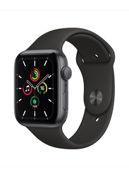 Apple Watch SE 44mm Smartwatch, GPS, Space Grey Aluminum Case with Black Sport Band