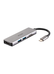 D-Link 5-in-1 USB-C Hub with HDMI and SD/MicroSD Card Reader, DUB-M530, Grey