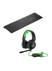 HP PAVHS400 400 Wireless Gaming Keyboard and PAVKB600 600 Pavilion Gaming Headset Value Bundle, Black