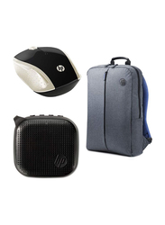 HP Value 15.6-inch Laptop Backpack Bag with Mouse, Grey/Blue
