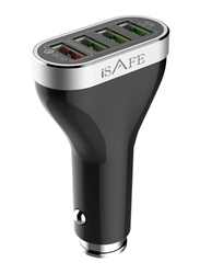 iSafe QC Car Charger for Multiple Devices, 4 USB Ports, Black