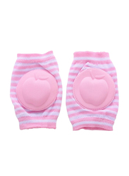 B-Safe Apple Stripes Knee Pads for Girls, Cotton, 18-24 Months, Pink