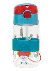 Oops Chic Cool Straw Water Bottle 400ml, Small World, Blue