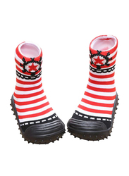 Cool Grip Sailor Red Stripes Baby Shoe Socks Unisex, Size 22, 24-36 Months, Red