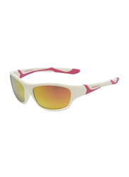 Koolsun Sport Full Rim Sunglasses for Kids, Hot Pink Revo Lens, 6-12 Years, White Hot Pink
