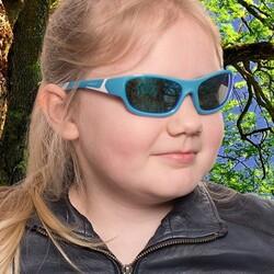 Koolsun Full Rim Sport Sunglasses for Boys, Ice Blue Revo Lens, KS-SPBLSH006, 6-12 years, Aqua/White