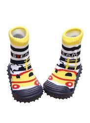 Cool Grip Steam Engine Baby Shoe Socks Unisex, Size 21, 18-24 Months, Yellow
