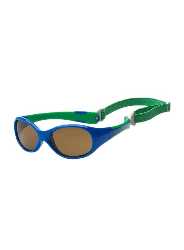Koolsun Full Rim Flex Sunglasses Kids Unisex, Mirrored Silver Lens, KS-FLRS000, 0-3 years, Royal/Green