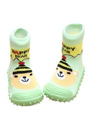 Cool Grip Happy Bear Baby Shoe Socks Unisex, Size 23, 36-48 Months, Green