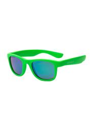 Koolsun Full Rim Wave Sunglasses Kids Unisex, Mirrored Green Lens, KS-WANG003, 3-10 years, Neon Green